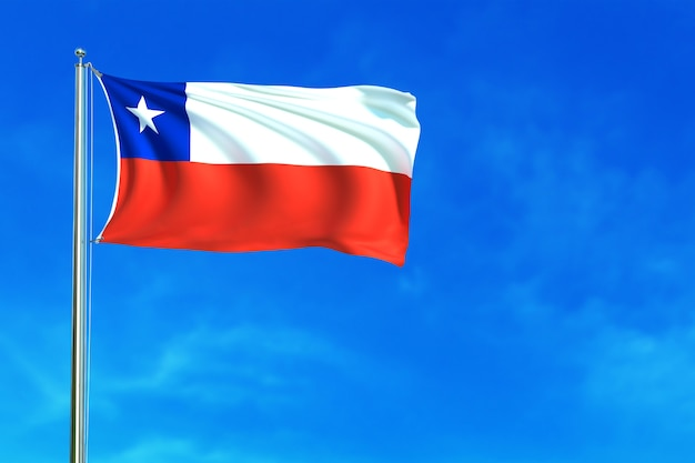 Flag of chile on the blue sky background 3d rendering