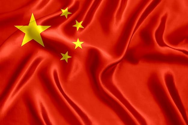Flag of china silk close-up background