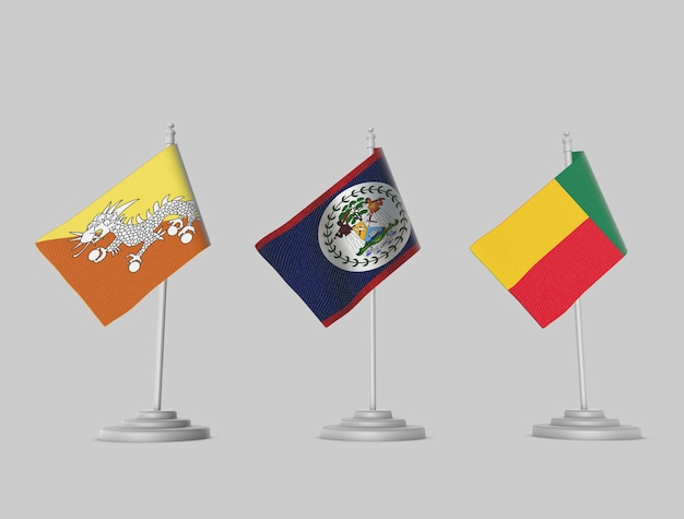 Flag collection - bhutan, belize, benin
