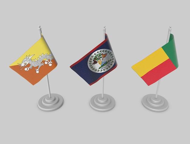 Flag collection - bhutan, belize, benin