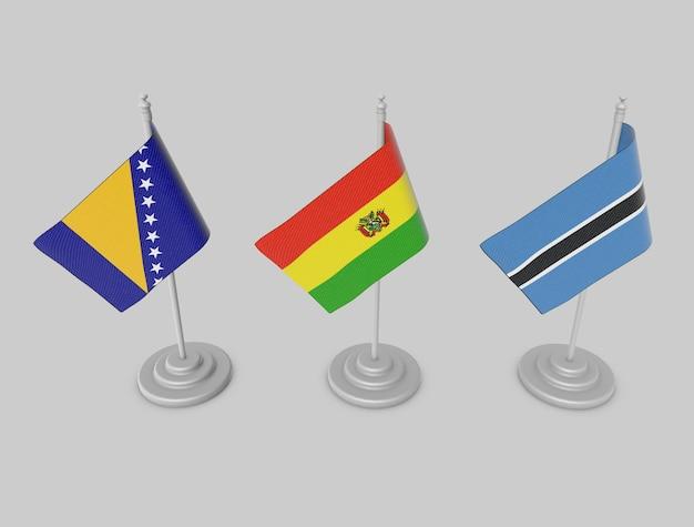 Flag collection - bosnia, bolivia, botsowana