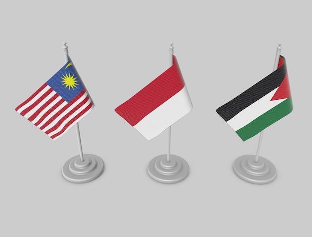 Flag collection - malaysia, indonesia, jordan