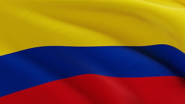 Flag of colombia waving in the wind, fabric micro texture in quality 3d render