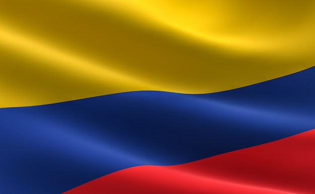 Flag of columbia. illustration of the colombian flag waving.