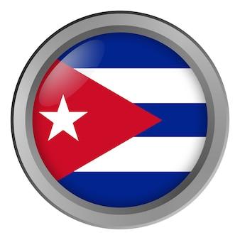 Flag of cuba round as a button