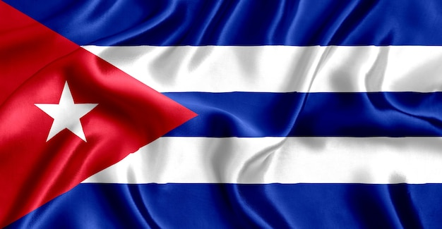 Flag of cuba silk close-up background