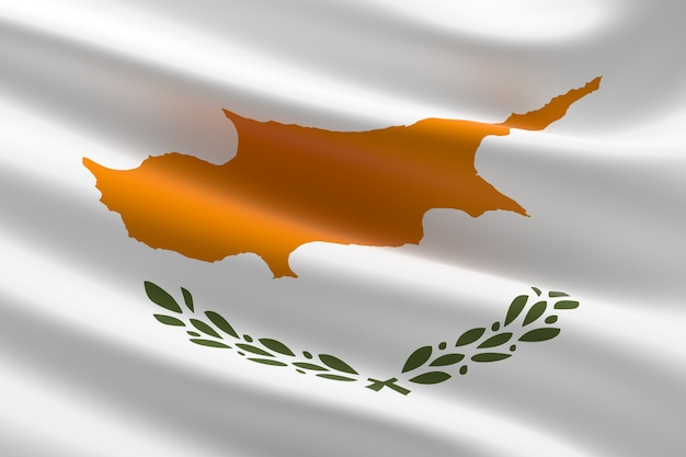 Flag of cyprus. 3d illustration of the cypriot flag waving.