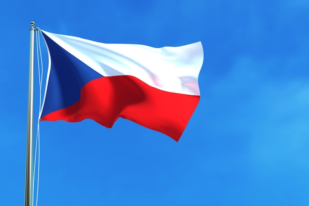 Flag of czech republic on the blue sky background 3d rendering