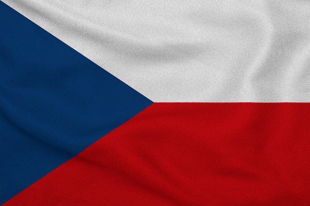 Flag of the czech republic from the factory knitted fabric. backgrounds and textures.