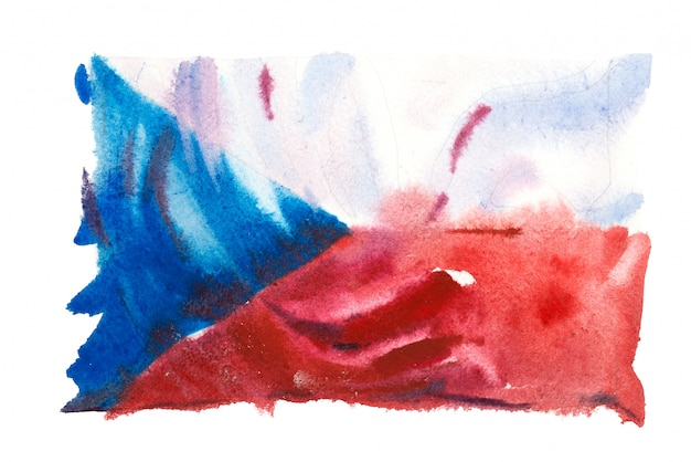 Flag of the czech republic painted in watercolors