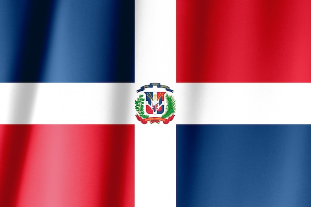 Flag of the dominican republic waving in the wind