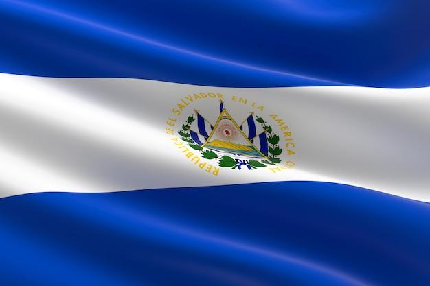 Flag of el salvador. 3d illustration of the salvadorian flag waving.