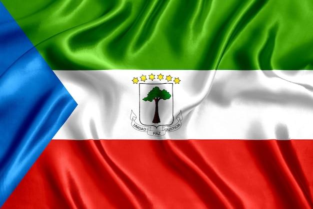 Flag equatorial guinea silk close-up background