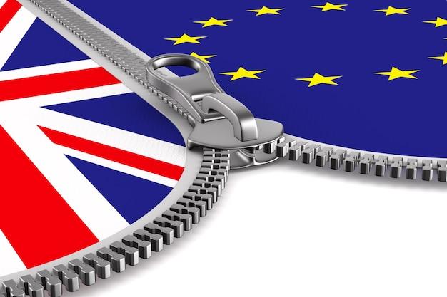 Флаг ес и великобритании и молния. 3d изображение.