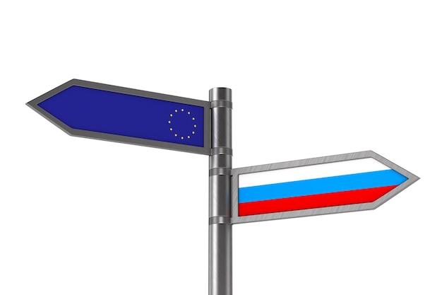 Flag eu and russia on white