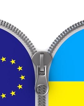 Flag eu and  ukraine and zipper. 3d illustration.