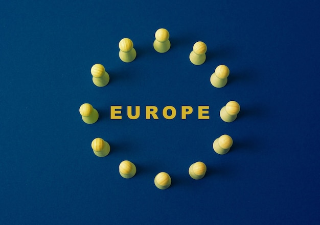 Flag of europe wooden figures