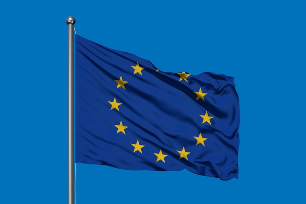 Flag of european union waving in the wind against deep blue sky.