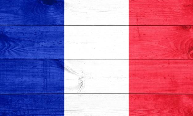 Flag of france on wooden background