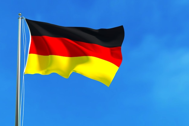 Flag of germany on the blue sky background 3d rendering
