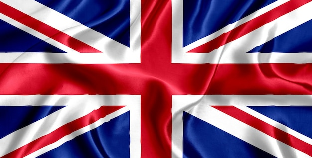 Flag of great britain silk close-up
