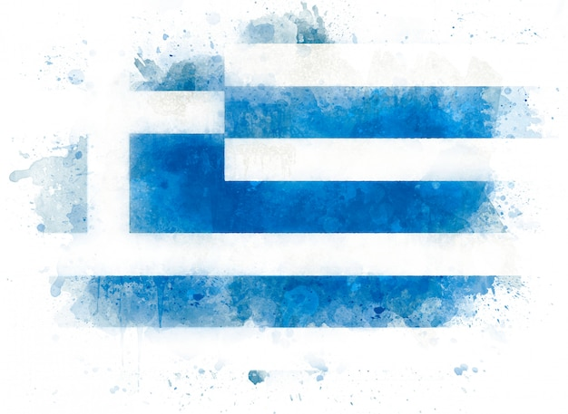Flag of greece on  watercolor paint