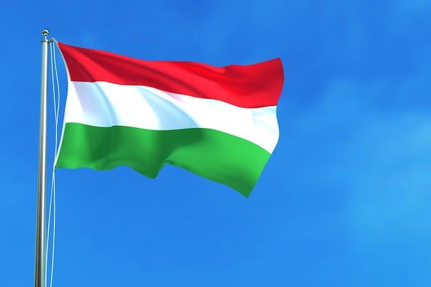 Flag of hungary on the blue sky background 3d rendering