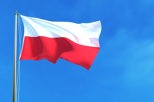 Flag of indonesia on the blue sky background 3d rendering