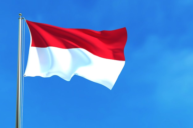 Flag of indonesia on the blue sky background