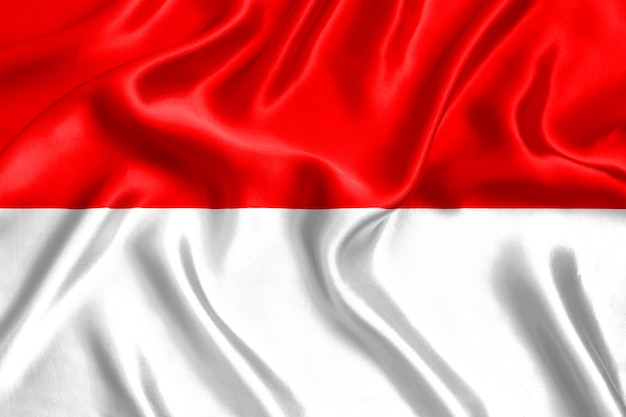 Flag of indonesia silk close-up background