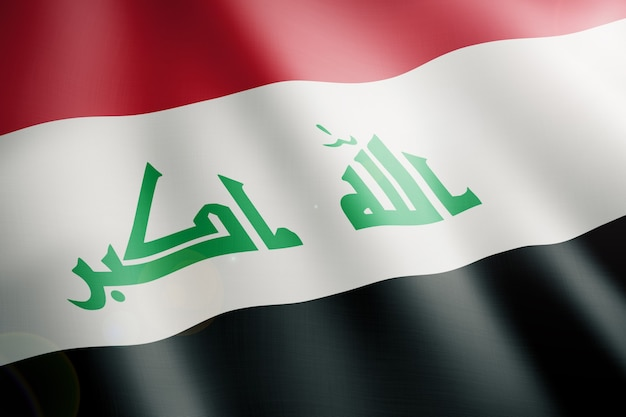 Flag of iraq waving in the wind in front