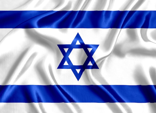 Flag of israel silk close-up background