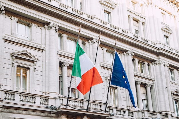 Flag of italy and the flag of europe