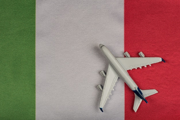 Flag of italy and model airplane