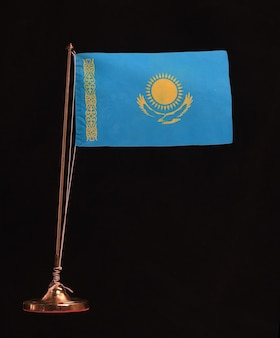 Flag of kazakhstan on a black background