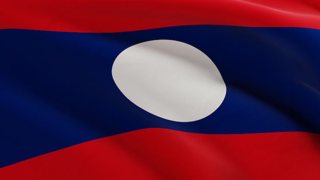 Flag of laos waving in the wind, fabric micro texture in quality 3d render