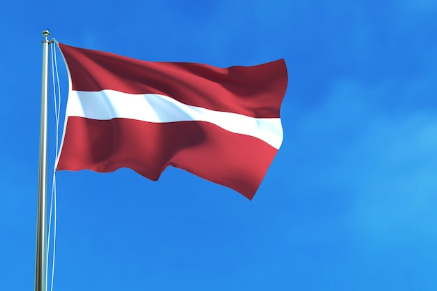 Flag of latvia on the blue sky background 3d rendering