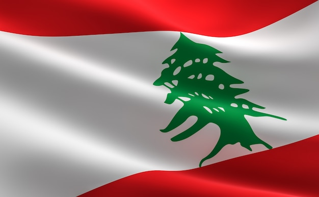 Flag of lebanon. 3d illustration of the lebanese flag waving.