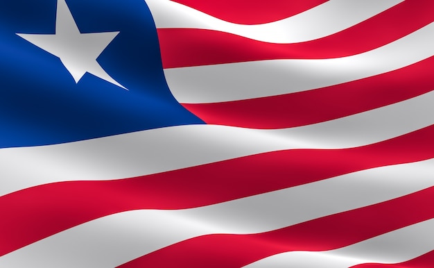 Flag of liberia. illustration of the liberian flag waving.