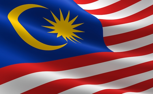 Flag of malaysia. illustration of the malaysian flag waving.