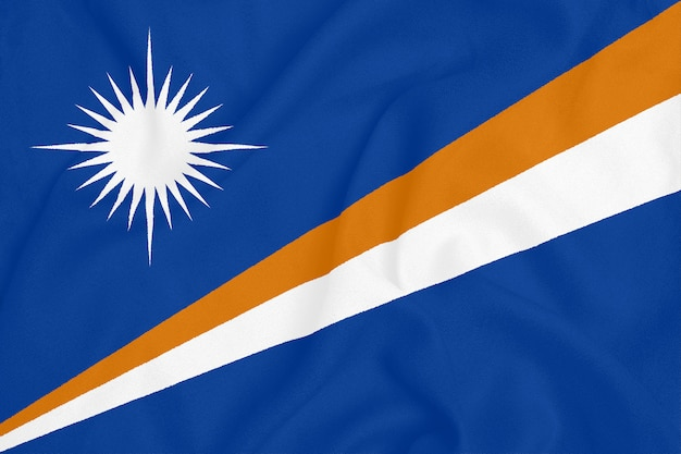 Flag of marshall islands on textured fabric