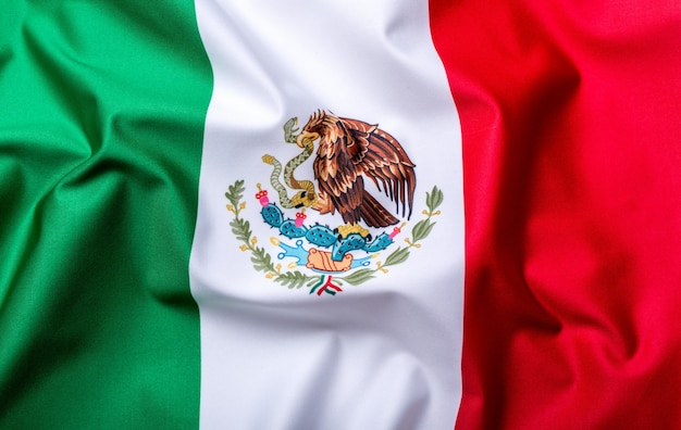 Flag of mexico, national country symbol, wave flag.