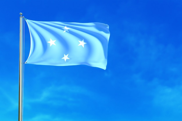 Flag of micronesia on the blue sky background 3d rendering