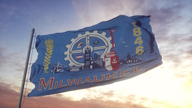 Flag of milwaukee, wisconsin, waving in the wind, sky and sun background. 3d rendering