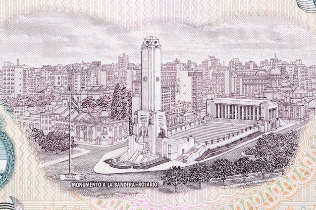 Flag monument in rosario from argentinian money