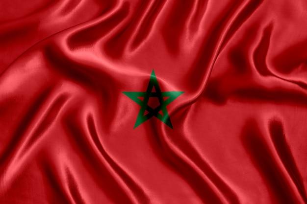 Flag of morocco silk close-up