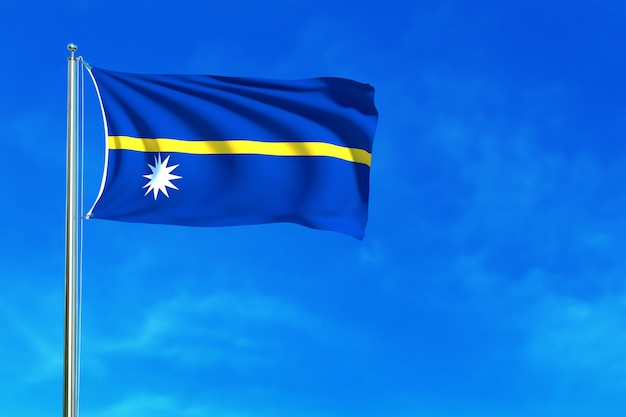 Flag of nauru on the blue sky background 3d rendering