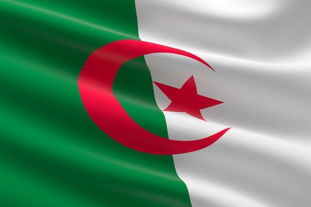 アルジェリアの旗。手を振っているアルジェリアの国旗の3dイラスト。