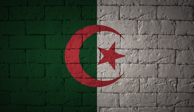 그런 지 벽 배경에 알제리의 국기입니다. 원래 비율