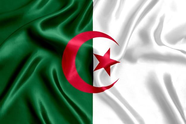 アルジェリアの国旗のシルクのクローズアップ
